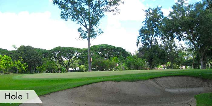 A Sand Bunker at Hole 1 in Cebu Country Club