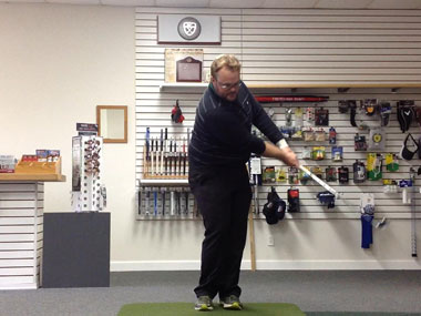This is an example of the classic way to hit a short game shot that is taught to a lot of beginning golfers.  This technique will lead to problems with clubhead manipulation in the stroke.