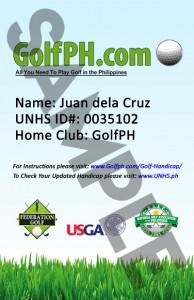 GolfPH Sample Handicap Card