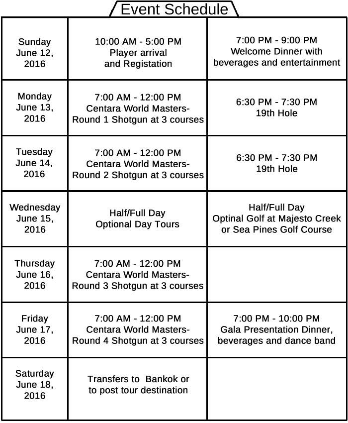 Centara World Masters Golf Championship Event Schedule