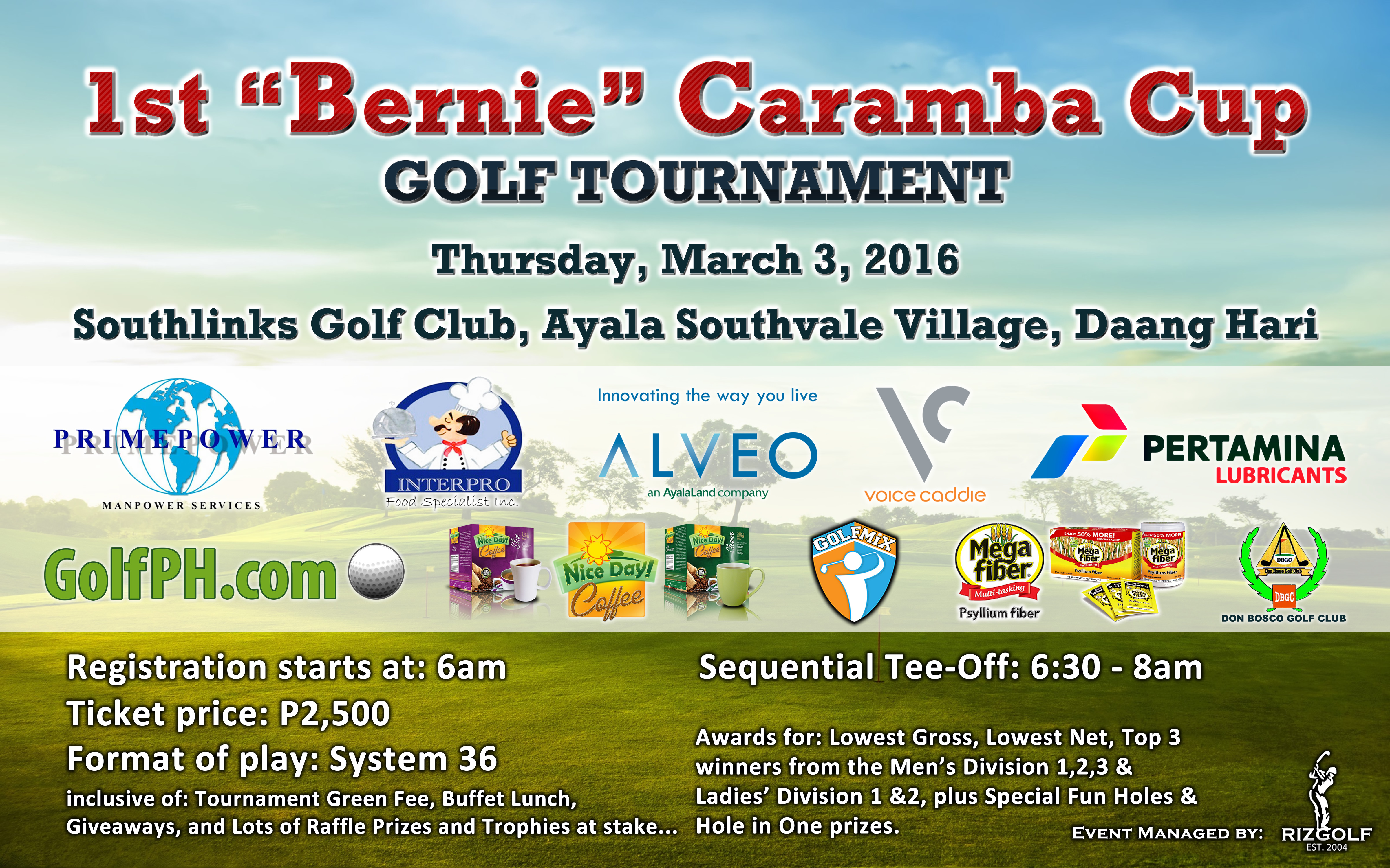 "Join the 1st ""Bernie"" Caramba Cup Golf Tournament"